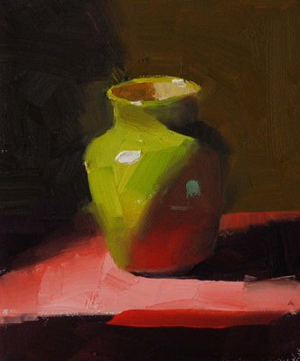 """Green on Red --- Sold"" original fine art by Qiang Huang"