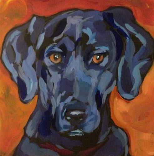 """Moxie, Another Shiny Black Dog"" original fine art by Kat Corrigan"