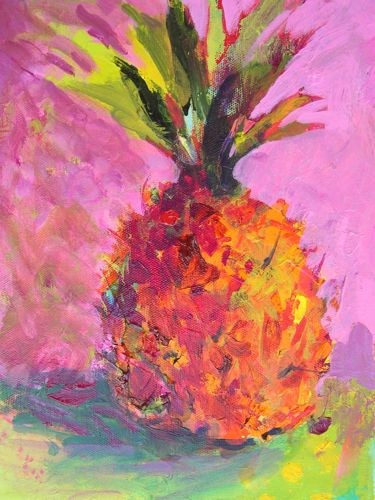 """Holiday Pineapple, Still Life Paintings by Arizona Artist Amy Whitehouse"" original fine art by Amy Whitehouse"