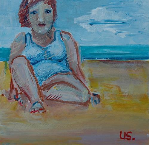 """Woman sitting by the sea"" original fine art by Ulrike Schmidt"