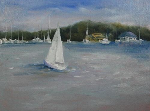 """Lake Macatawa, 6 x 8 Oil, Landscape"" original fine art by Donna Pierce-Clark"