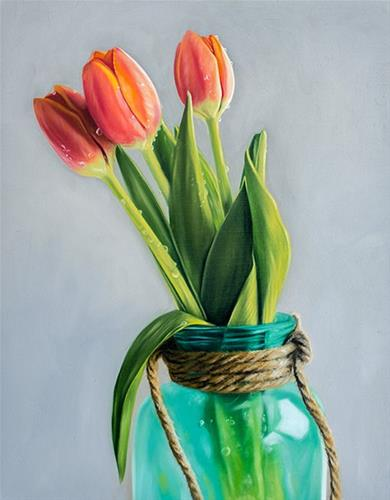 """Jar of Tulips"" original fine art by Lauren Pretorius"