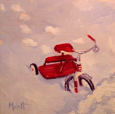 """First Bike Tricycle Snow Daily Painting Heidi Malott (sold)"" original fine art by Heidi Malott"