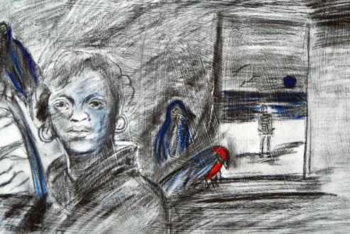 """Blue Moon"" original fine art by Donna Crosby"
