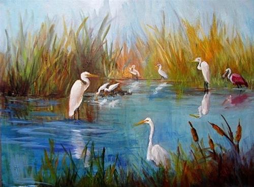 """""""Marsh Birds II of Port Bolivar Texas by Barbara Haviland"""" original fine art by Barbara Haviland"""