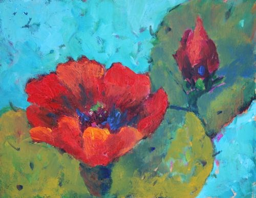 """Cactus Blooms, Contemporary Southwest Paintings by Arizona Artist Amy Whitehouse"" original fine art by Amy Whitehouse"