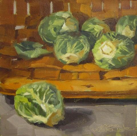 """""""Brussels Sprout Basket"""" original fine art by Karen Werner"""