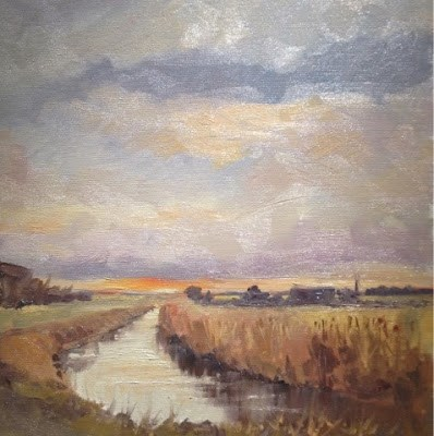 """South Drove, Lincolnshire"" original fine art by Mo Teeuw"