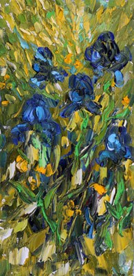 """Original Palette Knife Iris PaintingIris Holiday by Colorado Impressionist Judith Babcock"" original fine art by Judith Babcock"