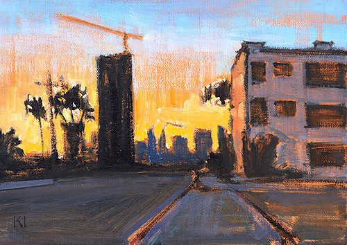 """Downtown Sunset, San Diego"" original fine art by Kevin Inman"