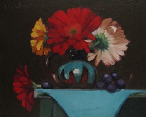 """Daisies in Turquoise Pot floral still life painting"" original fine art by Diane Hoeptner"