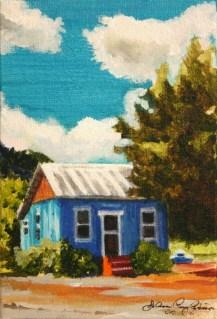 """Little Blue House at Hoey Ranch"" original fine art by JoAnne Perez Robinson"