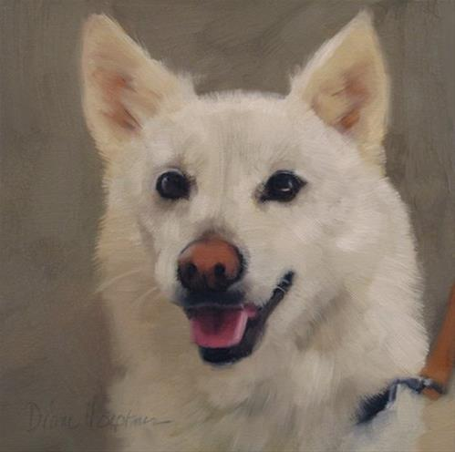 """Arrow dog pet portrait commission painting"" original fine art by Diane Hoeptner"