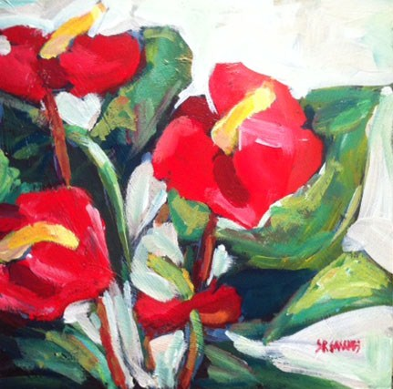 """anthuriums"" original fine art by Shelley Garries"
