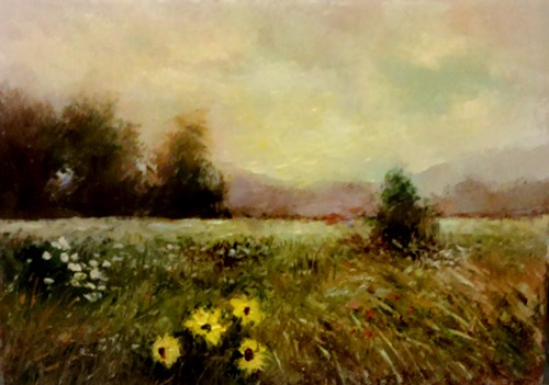 """Wild Sunflowers"" original fine art by Bob Kimball"