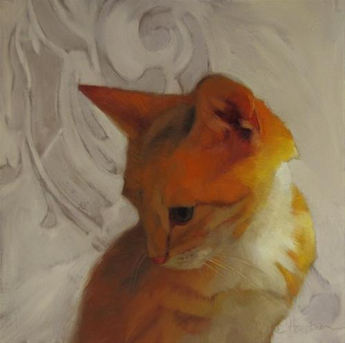 """Forever Young II, orange kitten, random musings about the color yellow"" original fine art by Diane Hoeptner"