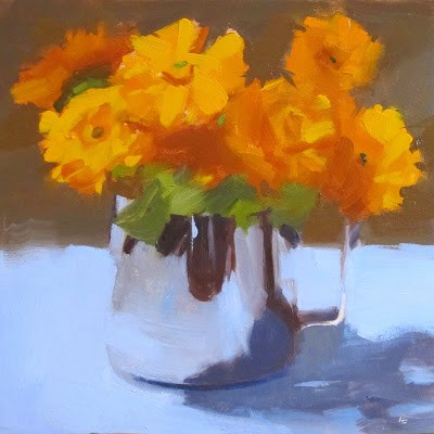 """CALENDULAS AND JUG"" original fine art by Helen Cooper"