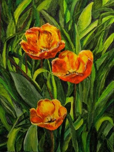 """3 Tulips"" original fine art by Nan Johnson"
