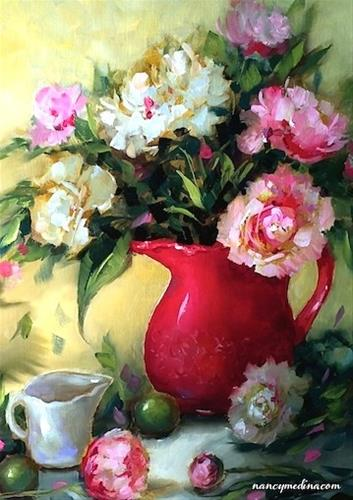 """Holiday Pink Peonies and Amazing Things We Learned in Class Today - Flower Paintings by Nancy Medina"" original fine art by Nancy Medina"