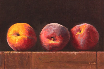 """Three Peaches at Sunset"" original fine art by Abbey Ryan"