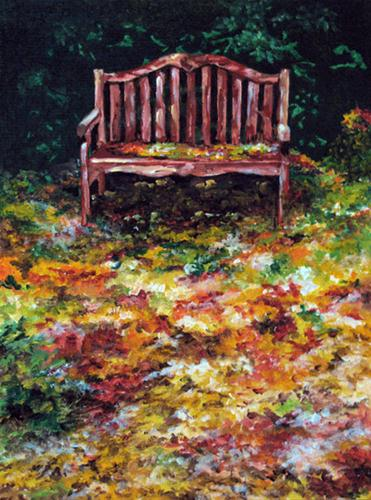 """Autumn Bench"" original fine art by Nan Johnson"
