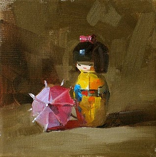 """Waiting --- Sold"" original fine art by Qiang Huang"