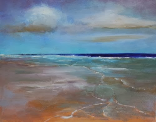 """Beach Walk, Abstract Seascape Paintings by Arizona Artist Amy Whitehouse"" original fine art by Amy Whitehouse"