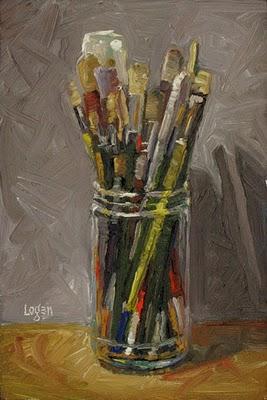 """Brush Jar"" original fine art by Raymond Logan"