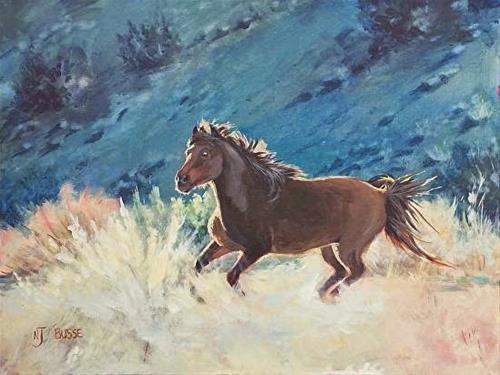"""Equine Art, Wild Horse Painting,The Wild One by Nancee Jean Busse ,Painter of the American West"" original fine art by Nancee Busse"