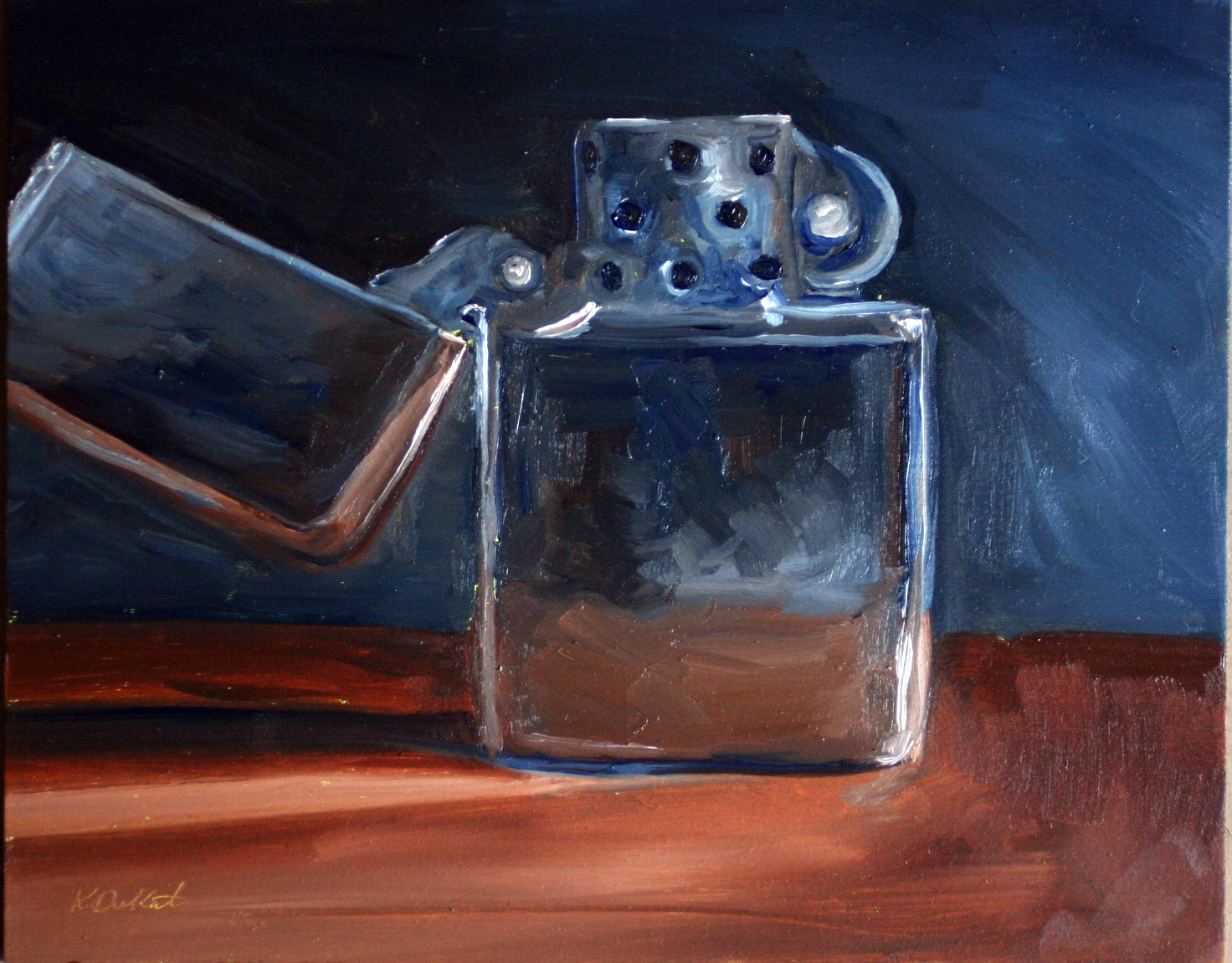 """Zippo was quite a Challenge"" original fine art by Kristen Dukat"