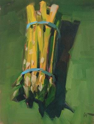 """Asparagus --- SOLD"" original fine art by Carol Marine"