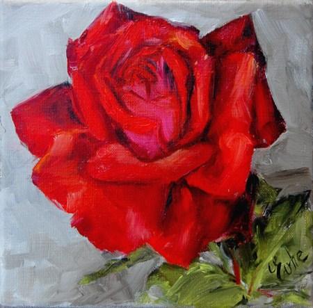 """""""red rose"""" original fine art by Evelyne Heimburger Evhe"""