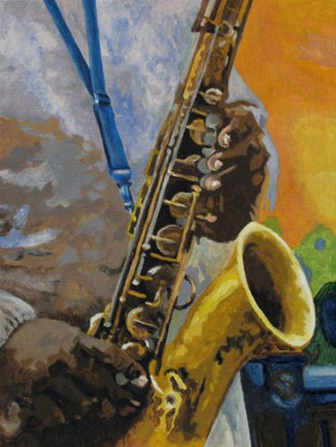 """The Sax Player"" original fine art by Nan Johnson"