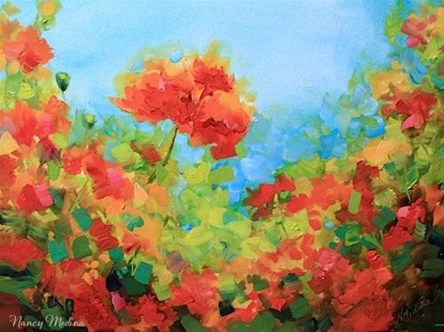 """Spotlight Poppies and a Kansas City Workshop by Texas Flower Artist Nancy Medina"" original fine art by Nancy Medina"
