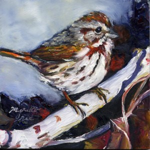 """Song Sparrow"" original fine art by Mariko Irie"