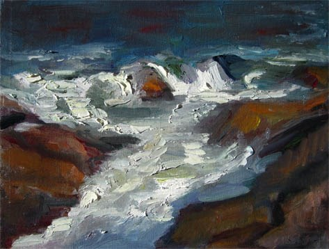 """Rocks and Foam"" original fine art by Carol Steinberg"