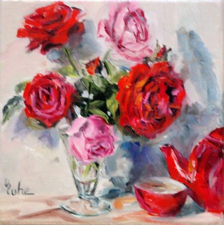 """""""Roses thé et prix du public"""" original fine art by Evelyne Heimburger Evhe"""