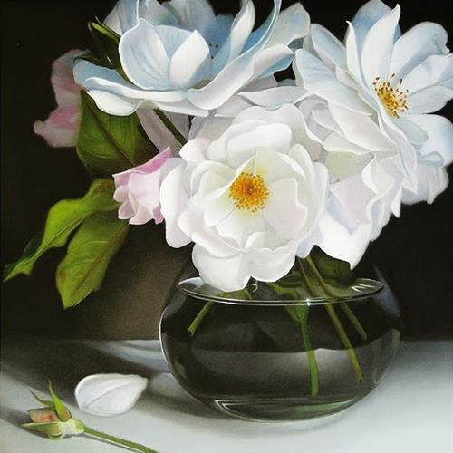"""White Roses 8x8"" original fine art by M Collier"