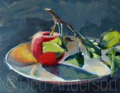 """Oil Painting: Apple with Branch"" original fine art by Deb Anderson"