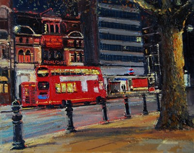"""Royal Court Theatre at Night, Sloane Square"" original fine art by Adebanji Alade"
