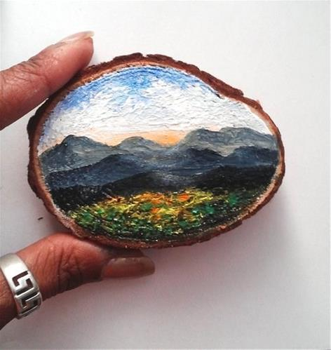 """Mini Oil Painting Landscape on Wood Slice"" original fine art by Camille Morgan"