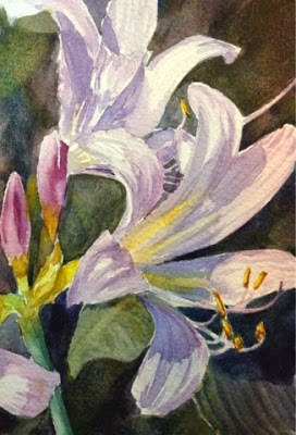 """Day 9 - Lavender Crinums - part 2"" original fine art by Lyn Gill"