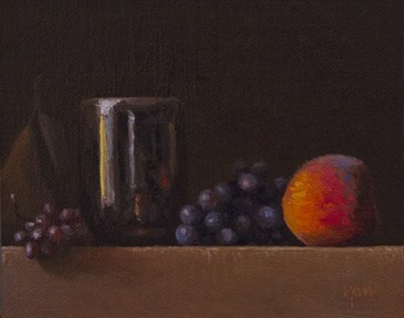 """Golden Series: Pear, Champagne Grapes, Concord Grapes, and Peach with Handmade Cup"" original fine art by Abbey Ryan"
