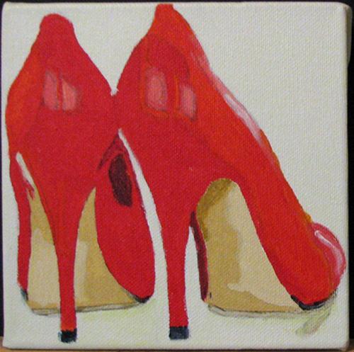 """""""Red High Heels"""" original fine art by Nan Johnson"""