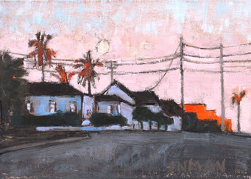 """Moonrise at Sunset, San Diego"" original fine art by Kevin Inman"