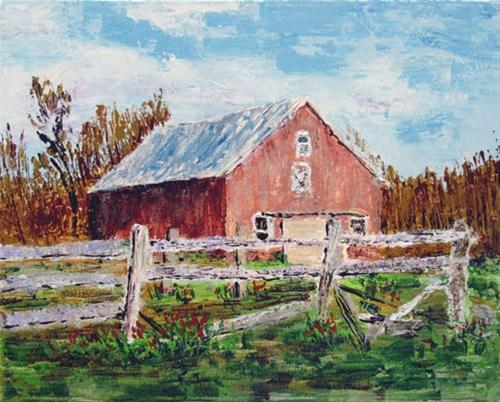 """Barn with Rail Fence"" original fine art by Nan Johnson"