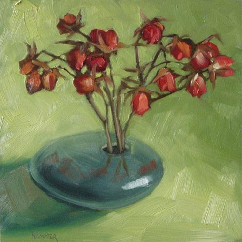 """Dried rosebuds in green 6x6 oil"" original fine art by Claudia Hammer"