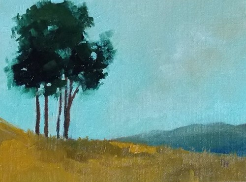 """trees on hillside"" original fine art by Pamela Munger"