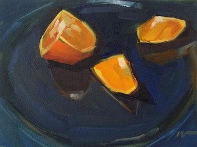 """Orange on a Plate"" original fine art by Carol Marine"