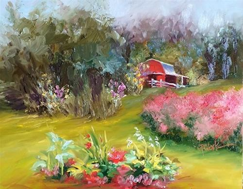 """Desiree's Home, 11 x 14 Oil, Landscape"" original fine art by Donna Pierce-Clark"